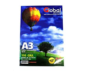 PAPEL FOTOGRAFICO GLOBAL A3 200G. BRILLANTE