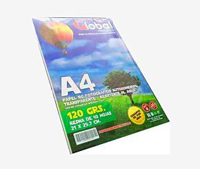 PAPEL FOTOGRAFICO GLOBAL A4 120 GRS TRANSPARENTE