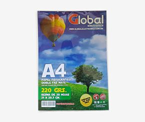 PAPEL FOTOGRAFICO GLOBAL A4 DOBLE FAZ 220G